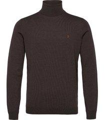gosforth 100% merino wool roll neck jumper knitwear turtlenecks svart farah