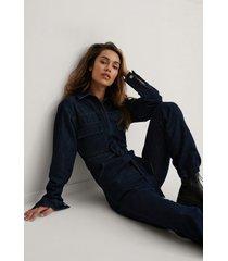 kim feenstra x na-kd ekologisk jumpsuit med fickor fram - blue