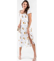 chloe floral midi dress - white