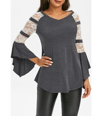 lace panel flare sleeve tunic t shirt