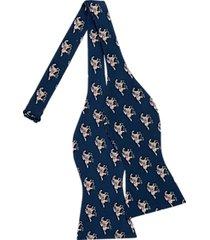 tommy hilfiger navy racehorse pattern self-tie bow tie