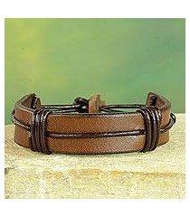 men's leather wristband bracelet, 'enduring strength in brown' (ghana)