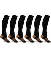 extreme fit men's and women's copper-infused high-energy compression socks - 6 pair