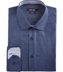 nine west men's slim-fit wrinkle-free performance stretch navy & white floral dot dress shirt
