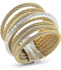 alor women's classique 18k white gold, stainless steel & 0.09 tcw diamond ring/size 7 - size 7