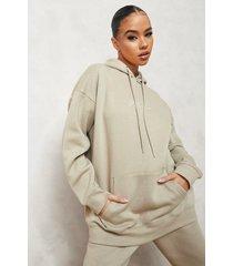 woman oversized geborduurde hoodie, taupe