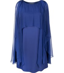 alberta ferretti tulle layer midi dress - blue
