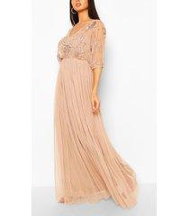 handversierde bruidsmeisjeskimono maxi-jurk met gaasstof, taupe