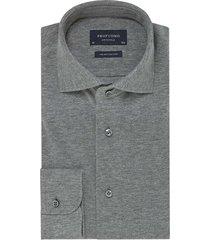 overhemd profuomo donkergrijs melange knitted
