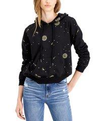 belle du jour juniors' celestial-print hoodie sweatshirt