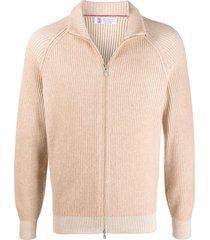 brunello cucinelli zip-through ribbed sweatshirt - neutrals
