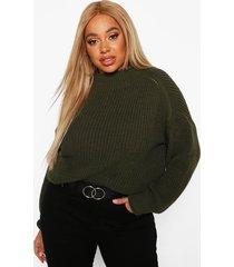 plus high neck batwing chunky knit sweater, khaki
