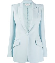 alexander mcqueen single-button structured style blazer - blue