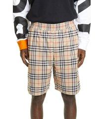 men's burberry debson check tech shorts, size medium - beige