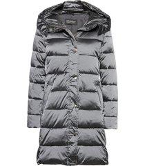coats woven gevoerde lange jas grijs esprit collection
