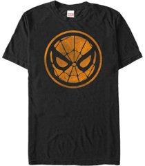 marvel men's spider-man distressed orange mask logo short sleeve t-shirt
