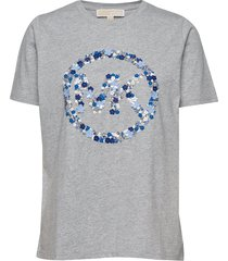 emb mk circle tee t-shirts & tops short-sleeved grijs michael kors