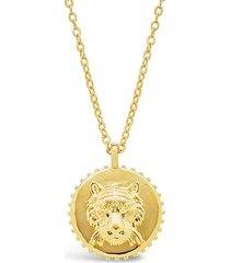 14k gold vermeil engraved tiger medallion necklace