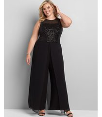 lane bryant women's sequin-embellished chiffon overlay jumpsuit 18 black
