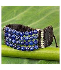 lapis lazuli and silver beaded cord bracelet, 'the deep sea' (thailand)