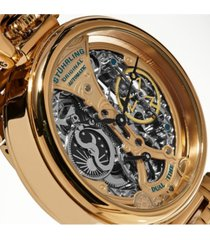 stuhrling original men's automatic, rose skeleton dial, rose case, rose stainless steel bracelet