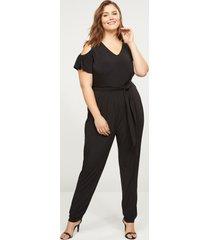 lane bryant women's cold-shoulder jumpsuit 26/28 black