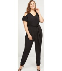 lane bryant women's cold-shoulder jumpsuit 26/28 black
