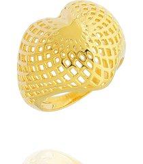 anel dona diva semi joias coraçáo grande dourado - tricae