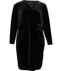 dress velvet plus stretch long sleeves knälång klänning svart zizzi