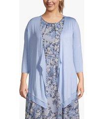 lane bryant women's chiffon-trim drape-front cardigan 22/24 english manor blue