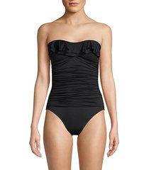 halter ruffle 1-piece swimsuit