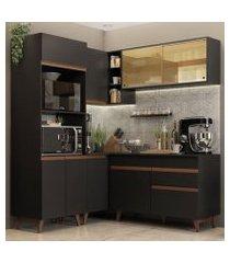 cozinha completa de canto madesa reims 332001 com armário e balcão preto preto