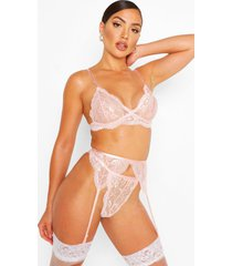 scallop lace bralette thong and suspender set, blush