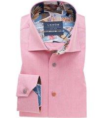 ledub overhemd tailored fit roze stijkvrij