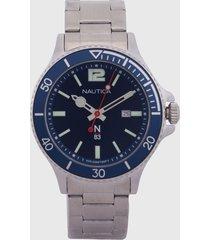 reloj plateado-azul nautica