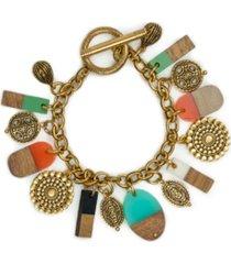 wood resin charm bracelet
