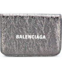 balenciaga cash mini wallet - silver
