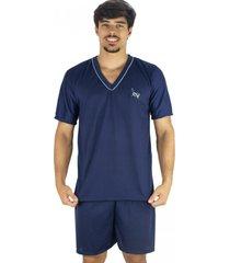 pijama mvb modas adulto curto verão azul