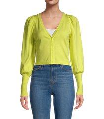 525 america women's puffed-sleeve cropped cardigan - neon green - size l
