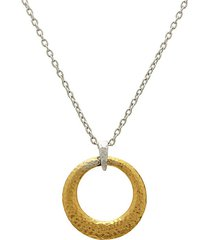 24k yellow goldplated sterling silver open circle pendant necklace