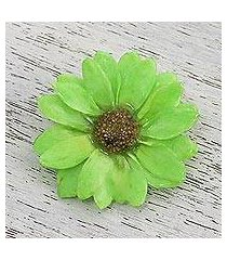 natural aster brooch pin, 'let it bloom in spring green' (thailand)