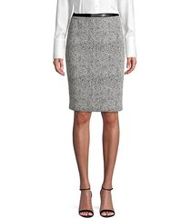 faux leather trim tweed pencil skirt