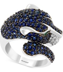 effy multi-gemstone (4-5/8 ct. t.w.) & diamond (1/8 ct. t.w.) panther ring in 14k white gold