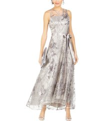 tahari asl sequined lace high-low gown