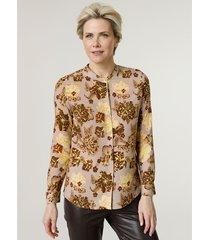 blouse mona taupe::bruin::neongeel