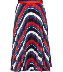 d1. preppy stripe pleated skirt knälång kjol multi/mönstrad gant