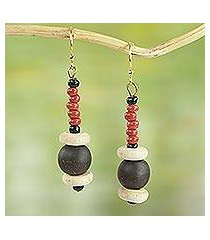 agate and wood beaded earrings, 'stay with me' (ghana)