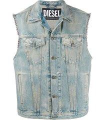 diesel d-smak studded trucker vest - blue