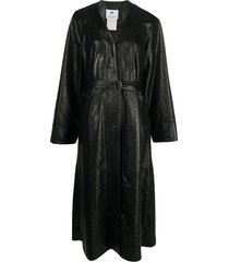 marine serre belted single-breasted coat - black
