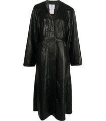 marine serre belted single-breasted coat - black
